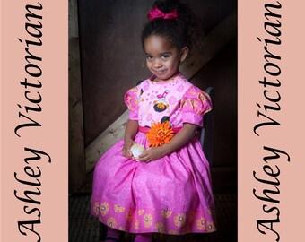 Pink Dora dress 4t, flower pattern