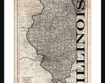 Illinois Map - Map of Illinois - Poster - Print - Sepia