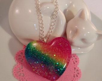 Rainbow Glitter Heart Resin Pendant