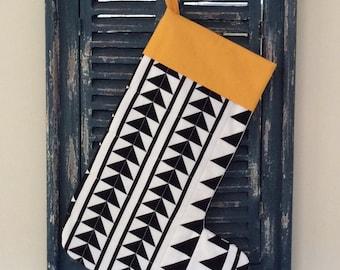 Christmas  Stocking - Modern Quilted Christmas Stocking (Sashing Stash) - black and white - Stocking - Quilted Stocking