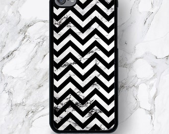 iPod Touch 6th Gen Black Chevron on Marble Case iPod Touch 6G White Design Print iPod 6 Covers, Marble Stone iTouch 5th Generation 4 Covers