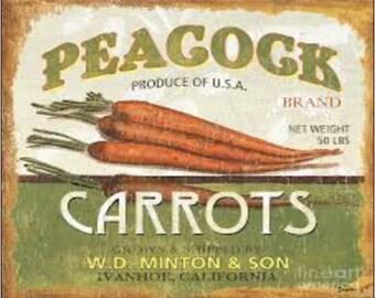 """2"""" x 3"""" Magnet Carrot Label Vintage MAGNET"""