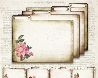 Vintage Rose File Folders - Printable - Double sided