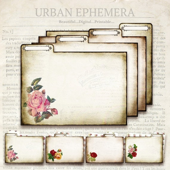 Vintage Rose File Folders Printable Double Sided From