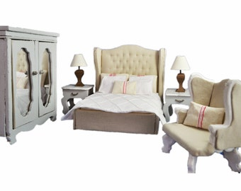 MiniMolly Dollhouse Furniture Deluxe Bedroom Suite, Bed Wardrobe Chair Clothes