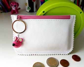 """White Rose Purse for Kids, Children's Purs, Purse for girls, Leather Coin Purse, Zippered Pouch, white rose. Size: 3,7""""x5,5"""""""