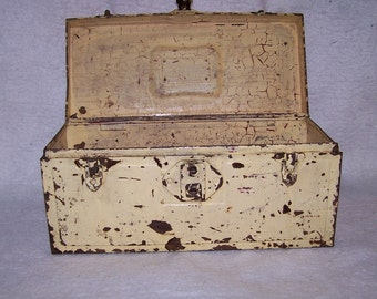 vintage metal tool box,farm equipment tool box