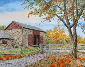 Farm Painting - Pumpkin Painting - Fall Painting - Country Art - Landscape Print - Nature Print - Fall Leaves - Matted Print