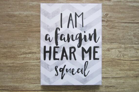Hardcover Notebook / Journal - I Am A Fangirl Hear Me Squeal - Gray Chevron Notebook - Fandom Fangirl Fan Gift - Reader Gift - Gift For Teen