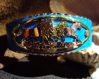 Gorgeous Handcrafted Copper Running Horse Cuff Bracelet