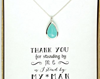 Mint Green Necklace, Mint Bridesmaid Silver Necklace, Mint Bridesmaid Jewelry Gift, Bridal Party Gifts,  Mint Necklace, NK1