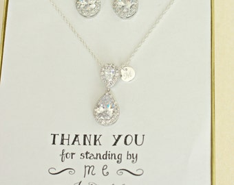 Bridesmaid Jewelry Set - Bridal Set - TearDrop Bridesmaid Necklace with initials, Cubic Zirconia Crystal Personalized Bridesmaids Gifts, TS1