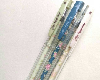 Pastel Floral Black Ink Gel Pen