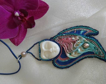 Butterfly wings Shabori silk hand embroidered pendant