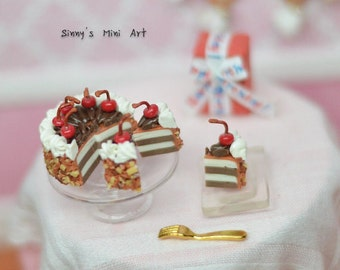 1:12 Dollhouse Miniature Chocolate Cake with Stem Cherries, Sliced/ Dollhouse Miniature food. Miniature cake K 2208