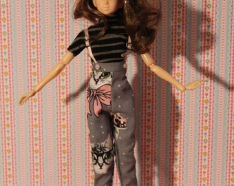 Hight waist Pants  and  Rainbow T-shirt  for  Pullip, J-Doll, momiko, obitsu