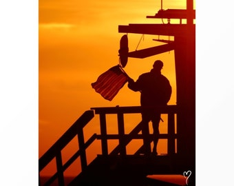 Beach Photography, Santa Monica Lifeguard Ocean Sunset, BEACH DECOR, Beach Wall Decor Ocean Art California Art Orange - Freedom