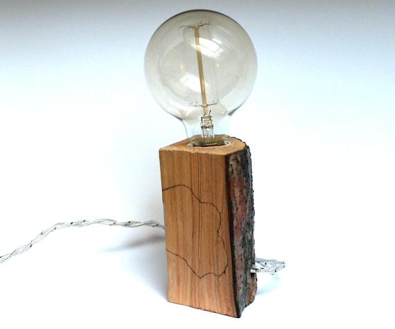 Bedside lamp Edison lamp wood design lamp rustic lamp by woohoowoo