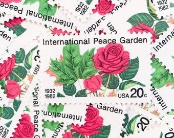 10 x UNused 1982 Red Rose 20 cents US Postage Stamps - Roses - International Peace Garden - for invites, postcrossing, scrapbooking