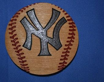 New York Baseball Magnet Cherry Wood Refrigerator Magnet American Made/ Homemade