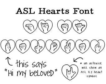 ASL Hearts Font - Instant Download American Sign Language Alphabet Font in Hearts