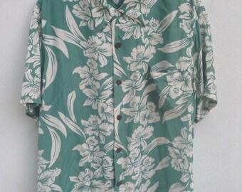 Vintage kamehameha hawaii rayon shirt XL