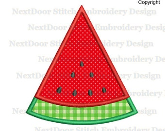 Watermelon Embroidery Applique Design,  Fruit Piece Machine Embroidery File Download,  food-005