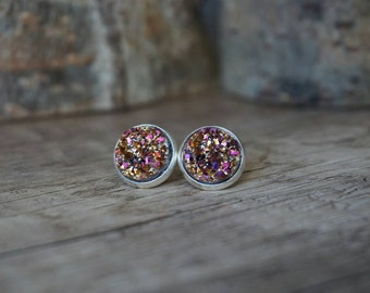 Earrings rose Crystal stones