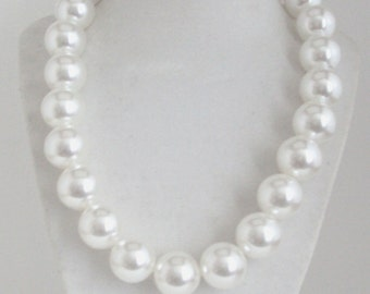 Pearl Necklace, Ball Necklace, White Pearl Necklace Set, Wedding Jewelry