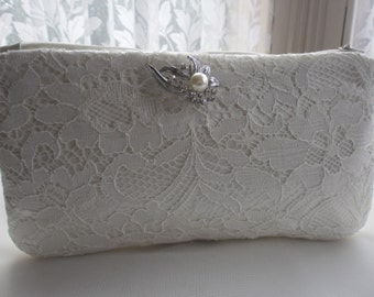 Ivory Lace Clutch Bag, Purse, Wedding Clutch Bag, Evening Purse, Prom Purse, Lace Clutch
