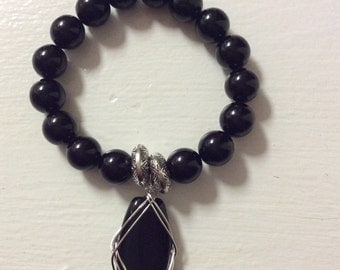 Black Glass Pearls Beads Charm Bracelet