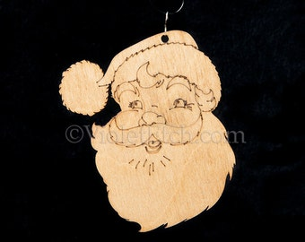 Santa Ornament-Santa Face Ornament-Santa Gift Tag-Wood Santa Ornament