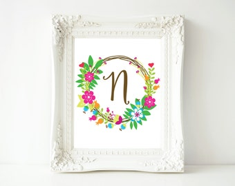 "Monogram printable art, Letter N, 8x10 Printable Wall Art, ""N"" Monogram Initial, Nursery Art, Home Art, Dorm room art"