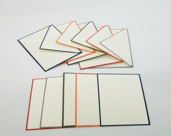 Color Edge Note Card Box, Original Crown Mill Envelopes, Made in Belgium, Handcrafted, Stationery, Envelopes, Notecards