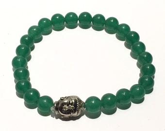WIRED FOR MEN Jade colored Bhudda Stretch Bracelet