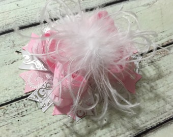 Pink and White Over The Top Hair Bow, Girls Over The Top Bow,Girls Hair Bow, Over The Top Baby Headband ,Baby Over The Top
