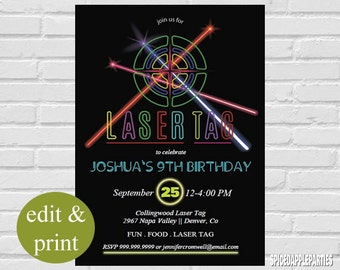 Laser Tag Birthday Party Invitation | Laser Tag Invitation, Laser Tag Party, Neon Invitation, Neon Chalkboard, Laser Theme, Lazer Tag