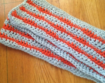 Orange and grey crochet scarf