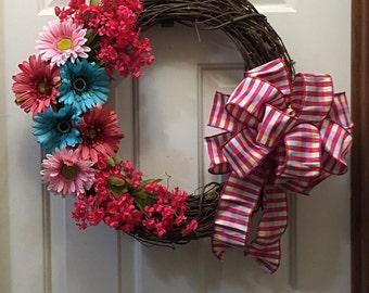 Spring Wreath, Floral Wreath, Summer Wreath