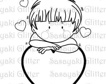Love Boy Digital Stamp by Sasayaki Glitter