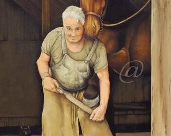 original oil painting, farrier, horse shoeing, horse, western, realistic, vintage, canvas, animal, farm, fine art, Jan Brown