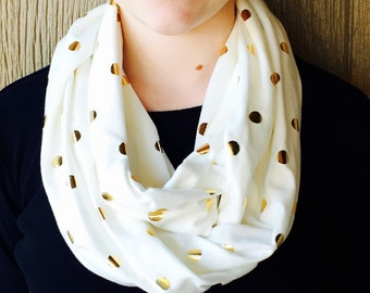 Toddler/Child/Infinity Scarf/Infinity scarves/Gold/White/Polka dot