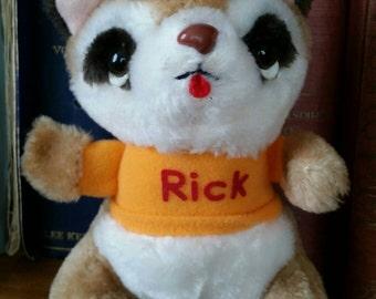 "Vintage 1980 Shirt Tales 7"" Plush Rick the Raccoon /Vintage 80's Cartoons /Hallmark"