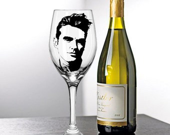 Morrissey, The Smiths, The Nosebleeds, Painted Glasses, Hand Painted Wine Glasses, Hand Painted Glasses, Wine Glasses, Moz, Mozza