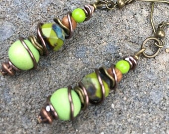 Boho Earrings, Hippie Earrings, Lime Green Earrings, Unique Earrings, Gypsy Earrings, Trendy Earrings, Dangle Earrings