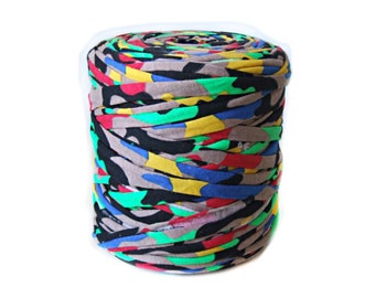 Colorful bulky T-shirt yarn, recycled t shirt yarn, tshirt yarn, recycled cotton yarn, jersey yarn, tricot yarn, yarn for carpet, bulk yard