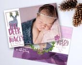 Boho Deer Girl Birth Announcement, New Baby, Custom Printable Digital File JPG or PDF, Photo, Aztec Rustic Wildflower