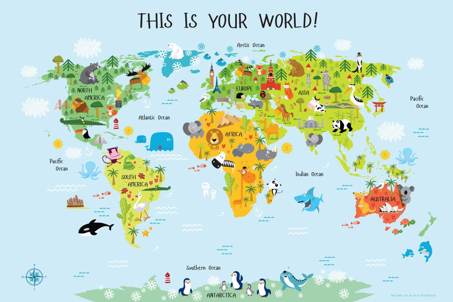 World Map for Kids Instant Download High Resolution by Pictureta