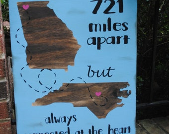 Going away gift, friend moving sign, painted rustic wood sign with connecting states, long distance friend quote, moving out of state
