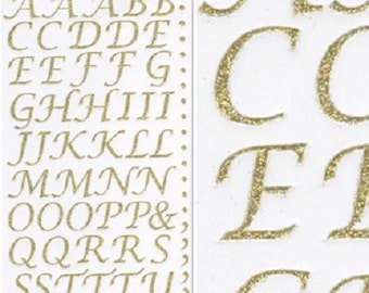 15mm Tall Gold Glitter Stylised Alphabet Letter Craft Stickers for Card Making, Embellishments, Scrap Booking, Gift Tags, Craft Projects